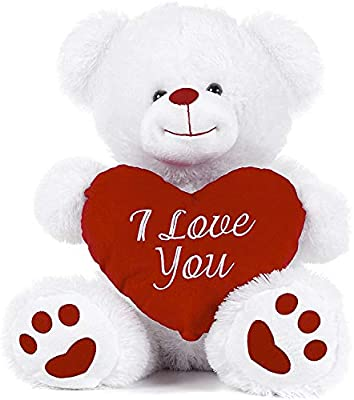 """Online street White Teddy Bear holding Red Heart with I Love You written on it (White, 8"""") from Online street"""