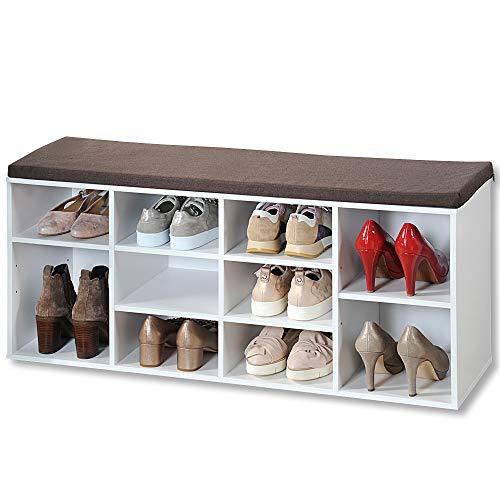 KESPER Schuhschrank mit Sitzkissen, weiß, Modell 2018 in nachhaltiger FSC-Ausführung, Maße: B 103,5 x H 48 cm x T 29,5 cm