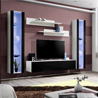 NOUVOMEUBLE Ensemble TV Mural Blanc et Noir Janina