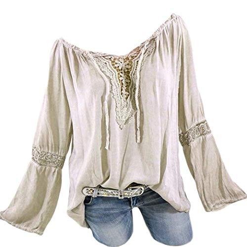 Damen Langarmshirt Carmen Häkeleinsatz Tunika Mit Bluse Mit Spitzenapplikation Mode Marken Langärmeliges T Shirt Mit Lochstickerei V Ausschnitt Shirt Größe Größe (Color : Beige, Size : 3XL)