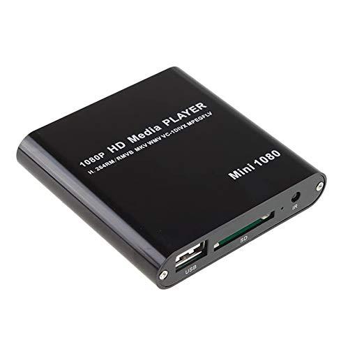 AGPtek Black Mini Full HD 1080P Digital Streaming Media Player-MKV/RM-SD/USB HDD-HDMI CVBS YPbPr
