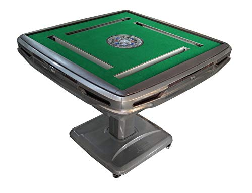 TRYHO Automatic Mahjong Table Gray Ultra-Thin Pedestal Folding Style with 40mm Numbered Tiles 宣和...
