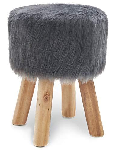 Hocker Rund aus Kunstfell Sitzhocker Fußbank Polsterhocker Schemel Pouf Sofa hocker Puff Gepolstert Hocker Sitzbezug für Flur Wohnzimmer Schlafzimmer mit Holzbeine Grau