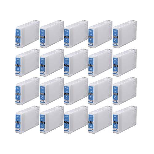 RudyTwos 20x Ersatz für Epson 79XL (TowerofPisa) Tinteneinheit Cyan kompatibel zu WorkForce Pro WF-4630DWF, WF-4640DTWF, WF-5110DW, WF-5190DW, WF-5620DWF, WF-5690DWF