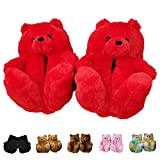 teddy bear slippers - Teddy Bear Slippers, Home Indoor Soft Anti-Slip Faux Fur Cute Slippers (Red)