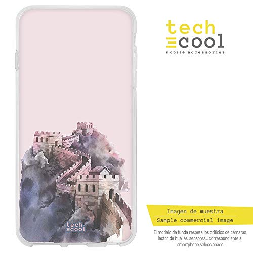 Funnytech® Funda Silicona para OnePlus 3 / 3T [Gel Silicona Flexible, Diseño Exclusivo] Dibujo Acuarela Gran muralla China Fondo Rosa