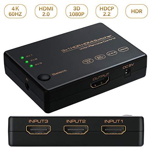 WisFox HDMI切替器 HDMI分配器 3入力/1出力 4K+3D 高速HDMIセレクター 4K60Hz HDMI2.0 HDCP2.2対応 高解像度 自動手動切替機能搭載 USB給電ケーブル リモコン付き PS4 Pro、PS3、Xbox、Fire TV、ROKU、ラップトップ、Apple TV、DVDプレーヤーなど対応