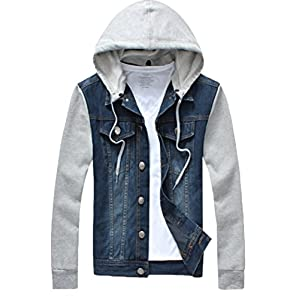 Men's Denim Hoodie Jacket Casual Full Zip Trucker Jacket Jean Coat