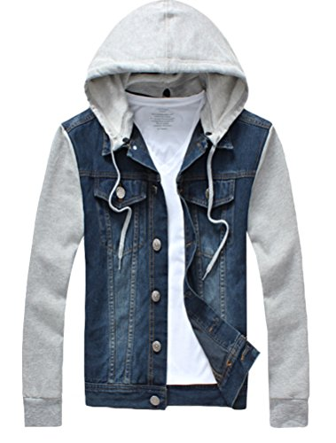 PASOK Men's Denim Hoodie Jacket Casual Slim Fit Button Down Jeans Coat Blue XS