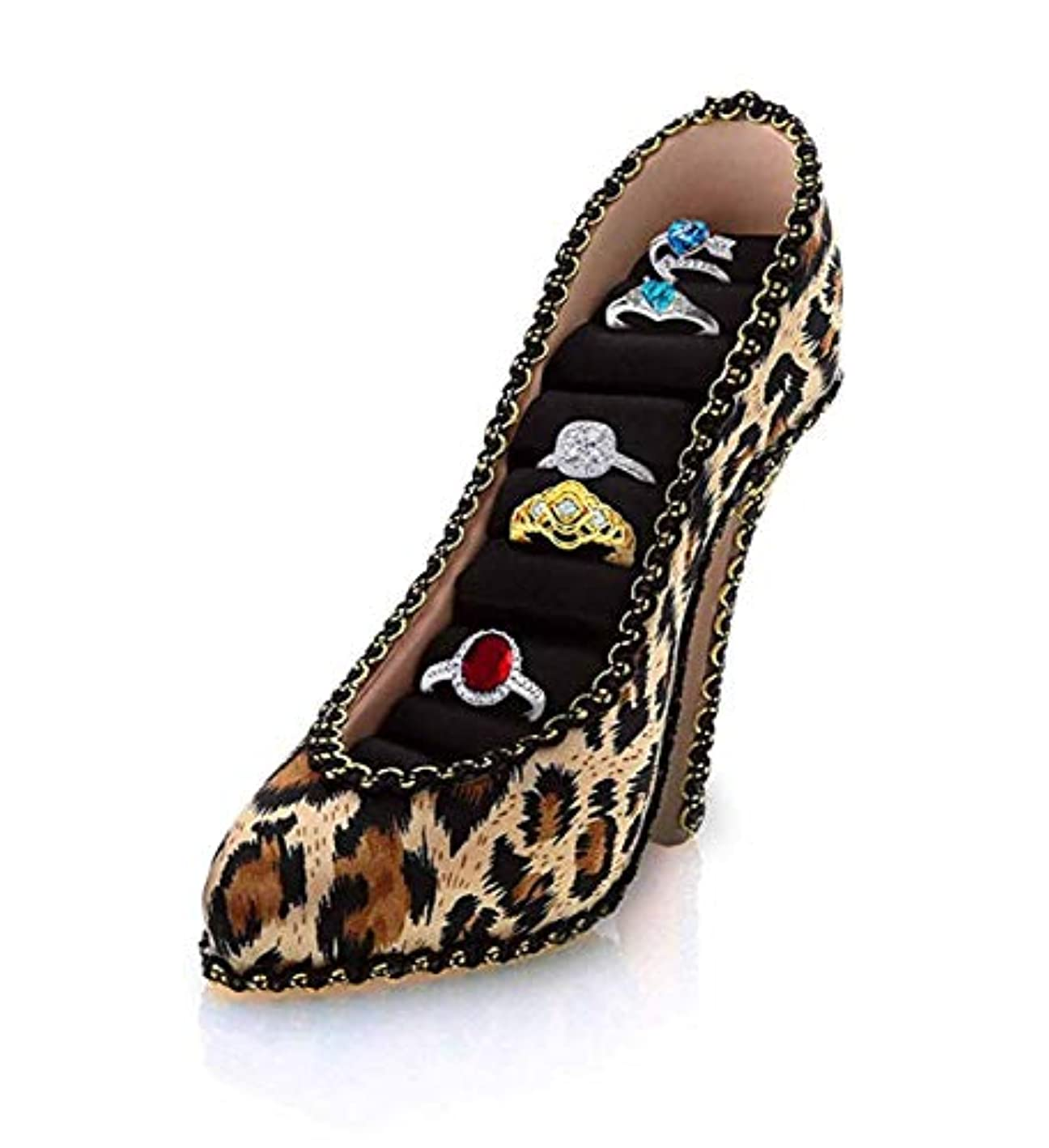 Mozlly Fashionable Leopard High Heel Sparkly Lace Shoe Ring Holder, 5 inch Jewelry Stand Organizer Holder Shoes Tier Display Princess Bracelets Earrings Jewelries Ring Rack Décor