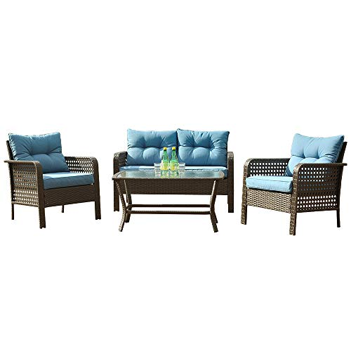 Patio PE Wicker Furniture Set 4 Pieces,All Weather Patio Conversation Sets of 2 Single Sofas,1 Loveseat and Tempered Glass Table Top,Outdoor Chat Set Conversation Set for Backyard Yard,Garden (Blue)