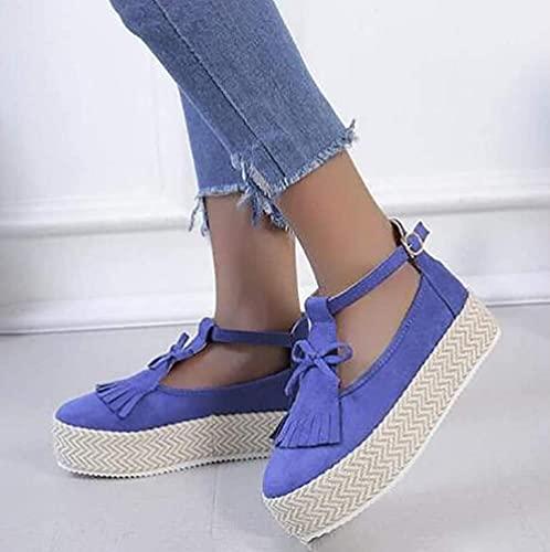 TCWDX Sandali con Nappe Scarpe da Donna con Tacco Alto Piattaforma con Tacco Alto in canapa Pantofole con Fibbia per il Tempo Libero all