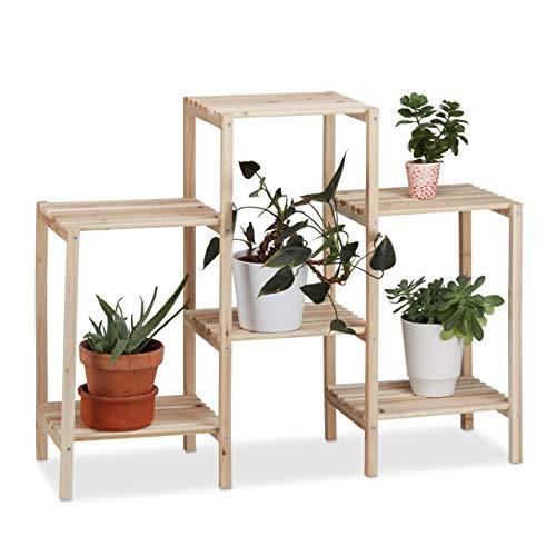 Relaxdays Pflanzenregal Holz, für Innen, stabil, rustikal, rostfrei, massiv, Blumenregal, HxBxT: 70 x 89 x 27 cm, natur