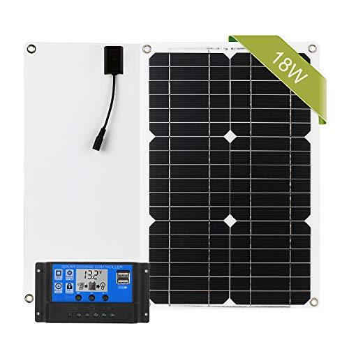 Panneau Solaire,monocristallin 18W 12 V Panneaux solaires kit + 100 A contrôleur de charge pour batterie de 12 volts Hors-réseau Système,bateau,mobil-home,jardin häuse(18W Panneaux solaires kit)