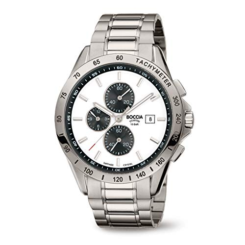 Boccia Herren Chronograph Quarz Uhr mit Titan Armband 3751-04