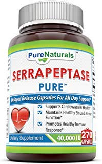 Pure Naturals Serrapeptase 40, 000 Units Capsules (Non-GMO)-*Supports Cardiovascular Health* Maintains Healthy Sinus & Airway Function* Promotes Healthy Immune Responce* (270 Count)