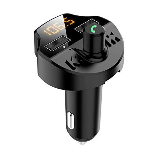 Transmitter Radio Receiver Bluetooth 5.0 Adapter Kit para coche Transmisor FM manos libres Modulador FM Música manos libres Reproducción de doble USB Cargador de coche para iPhone, iPad, Samsung