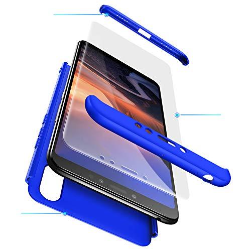 TANGNI XiaoMi Mi Max 3 Hülle,XiaoMi Mi Max 3 Schutzhülle[Mit Gehärtetem Glas Bildschirmschutz] XiaoMi Mi Max 3 Handyhülle Schale hülle für XiaoMi Mi Max 3 360 °vollständiger Paketschutz - Blau