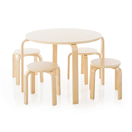 Guidecraft Nordic Table and Chairs Set for Kids: Natural - 4 Stacking Bentwood Stools with Curved Wood Activity Table - Children's Modern Kitchen, Playroom and Classroom Furniture