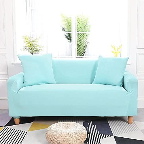 Funda Sofa 4 Plazas Chaise Longue Agua Verde Fundas para Sofa con Diseño Universal,Cubre Sofa Ajustables,Fundas Sofa Elasticas,Funda de Sofa Chaise Longue