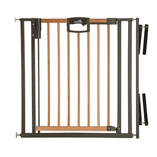 Geuther - Treppenschutzgitter ohne Bohren Easylock 2793+, für Kinder oder Hunde, zum klemmen, Metallrahmen, Holztür, 84,5 - 92,5 cm, weiß/silber