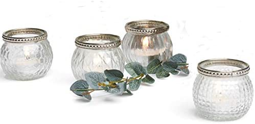 Kurrajong Farmhouse Set of 4 Small Glass Candle Holders 2 high in a Box Wedding Tea Light Candle product image