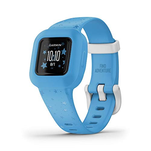Garmin vivofit jr. 3, Fitness Tracker for Kids, Includes Interactive App Experience, Swim-Friendly, Up To 1-year Battery Life, Blue Stars, adjustable watch (010-02441-22)