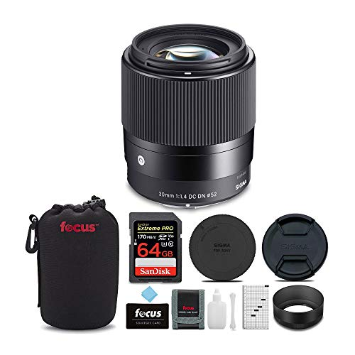 Sigma 30mm f/1.4 DC DN Contemporary Lens for Canon EF-M with 64GB Extreme PRO SD Card, Lens Pouch and Accessory Bundle