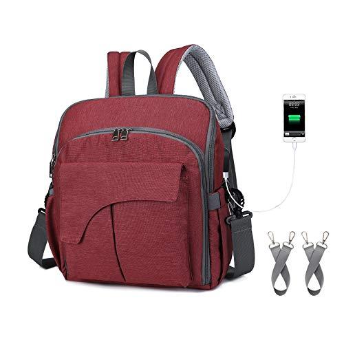 Mochila para pañales con bolsillos aislantes para botellas de bebé, bolsas para cambiar pañales, Rojo (Rojo), Medium