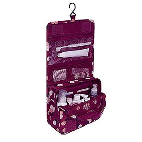 Gespout Neceser de Maquillaje Cosmético Bolsa Paquete Almacenamiento Caso de Gran Capacidad Bra Toalla para Mujeres Niñas Viaje Baño con Colgado Bolso Paño de Impermeable 24cm*18.5cm*9.5cm(Rojo)