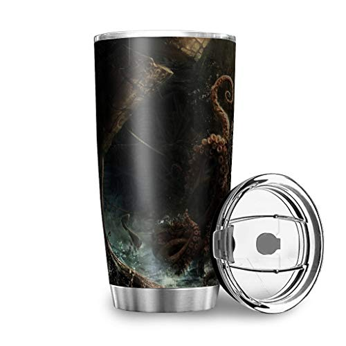Dessionop Tumbler - Botella de agua de estilo vintage con diseño de tentáculo, 20 onzas, a prueba de fugas, tapa blanca de 600 ml