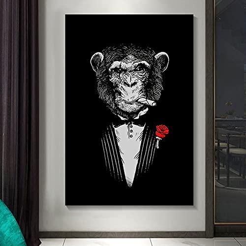 HWNU Impresión de Mono fumando Pinturas En Lienzo Carteles e Impresiones artísticos de Pared de Animales Traje de Mono Divertido Imágenes de Pared Decoración del hogar Sin Marco