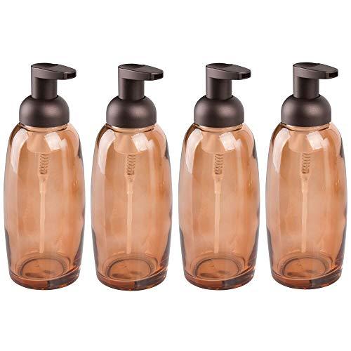 mDesign Dispensador de cristal para jabón – Dispensador de jabón líquido para baño, cocina y hogar – Dosificador de desinfectante de estilo vintage – Capacidad de 355 ml – Juego de 4 – color bronce