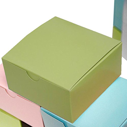 Efavormart 100pcs of 4x4x2 Sage Green Cake Box for Candy Treat Gift Wrap Box Party Favor Boxes for Bridal Shower Wedding Party