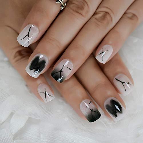 CSCH Faux ongles Ongles artificiels plats de lait blanc à la mode longs conseils d'art d'ongle pour dame usage quotidien ongles pré-conçus produit de salon facile à utiliser