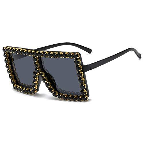 WANGZX Moda Gafas De Sol Cuadradas Grandes con Diamantes Diseño De Marca para Mujer Gafas De Sol con Montura Grande para Mujer Tono Uv400 02