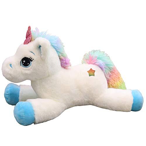 Georgie Porgy Kinder Plüsch Einhorn Teddy Stofftier mit Mehrfarbigen Regenbogenschwanz Kuscheltier Pony Kuschelgeschenke für Mädchen ab 3 Jahren (Weiß)