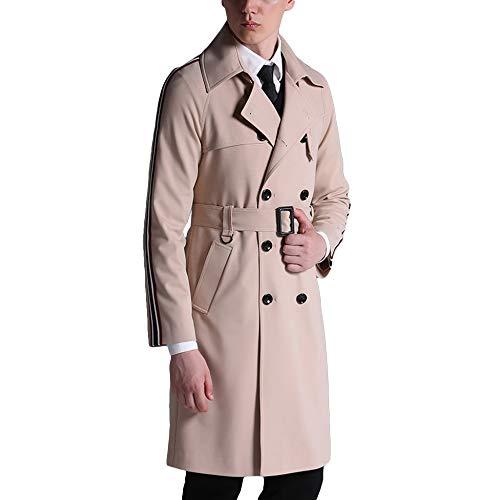 MERRYHE Herren Classic Zweireiher Trenchcoat Casual Lange Jacken Slim Fit Military Mantel Revers Oberbekleidung Mit Gürtel,Beige-S(Bust/100cm)
