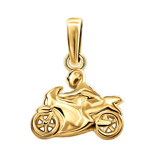 CLEVER SCHMUCK Colgante de moto dorado con conductor, 12 x 9 mm, ambos lados, brillante, plata de ley 925, chapado en oro, para niños