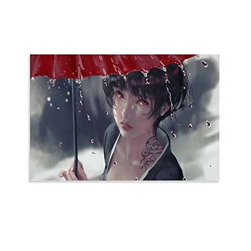 FANGOU Poster décoratif sur toile représentant une fille au tatouage qui pleut un parapluie 30 x 45 cm