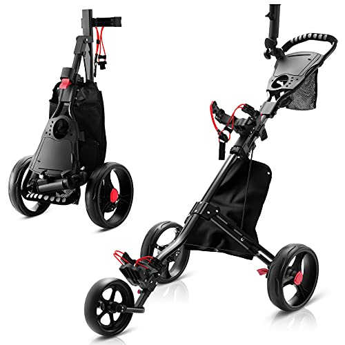 Timechee Foldable Golf Pull Cart, Golf Push Pull Cart with Foot Brake, 3 Wheel Push Pull Golf Cart Trolley with Umbrella Holder, Cup Holder, Tee Holders, Scoreboard, Storage Bag (Black)