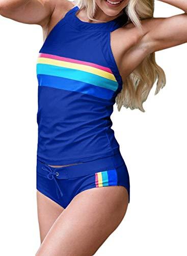 Cula Damen Regenbogen gestreift Langarm Rash Guards Shirt und Bottom Zweiteilige Surf-Badeanzüge, D-Blue, 20-22