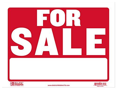 Placa BAZIC 22,86 cm x 30,48 cm para vendas, vendas, garagem, vendas, loja, varejo, política, negócios, borda de porta de parede, sinalização de publicidade à prova d'água, para ambientes internos e externos, pacote com 1