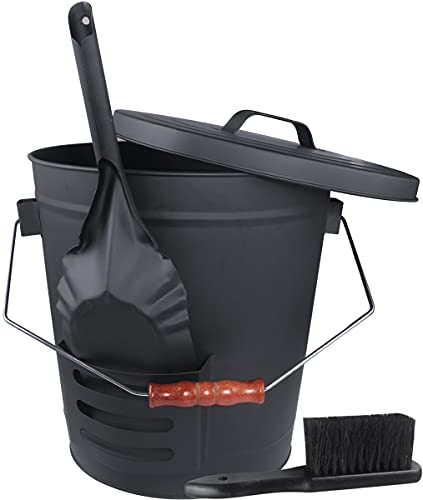 Ash Bucket with Lid and Shovel Hand Broom, 5.15 Gallon Large Galvanized Iron Metal Fireplace Tools Ash Pail for Fire Places Fire Pits Wood Burning Stoves Hearth Accessories Indoor Outdoor, Black