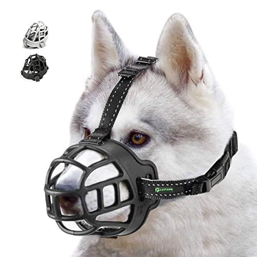 ILEPARK Korbmaulkorb für Hunde, Silikon-Korb Hund Maulkörbe, Atmungsaktiver Rundum-Abdeckung des Und Verstellbare Träger, Verhindert Bellen, Beißen und Kauen. (Größe 1,schwarz)