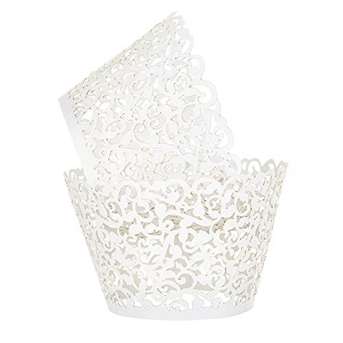 LEMESO 100 pcs Cupcake Wrappers Cupcake Papier Verpackung Kuchen Pappbecher für Hochzeit Geburtstag feiern Baby Shower Deko (Weiß)