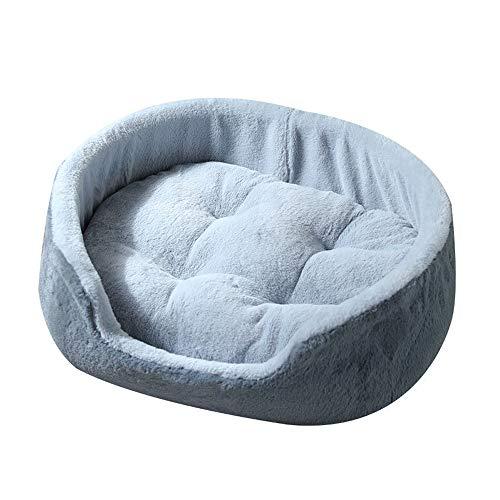 Cama Redonda de Felpa para Gatos Cama Suave para Mascotas para Perros pequeños y medianos Cuddler Cojín Redondo Nido Cama(Gris Azulado,S (49 cm * 35 cm))