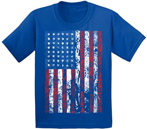 Awkward Styles Youth American Flag Distressed T-Shirt Kids 4th July Shirt S Blue