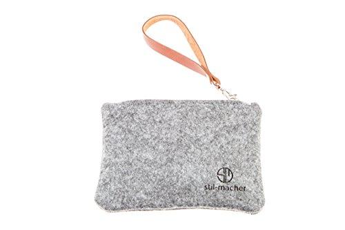 Stil-Macher Taschenorganizer aus Filz – Schminktasche – Makeup Tasche - Handtaschen-Organizer – Geldbörse - Portemonnaie - Geldbeutel - Kulturtasche - Geldbeutel … (grau-meliert)