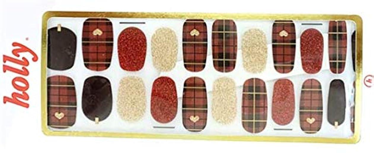 導体グローバル違う[NJELL PICK] Cutie red check(キューティー&赤チェック) - 赤チェック、赤フランネルネイル、レッド&ゴールドラメ、ゴールドハートアクセント、パンキー&キュート - ネイルラップ、マニキュアストリップ、マニキュアシール